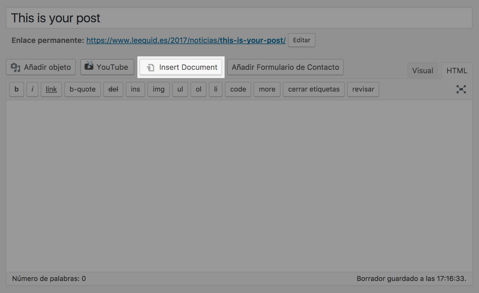 Insert document in wordpress. Create content from office files.