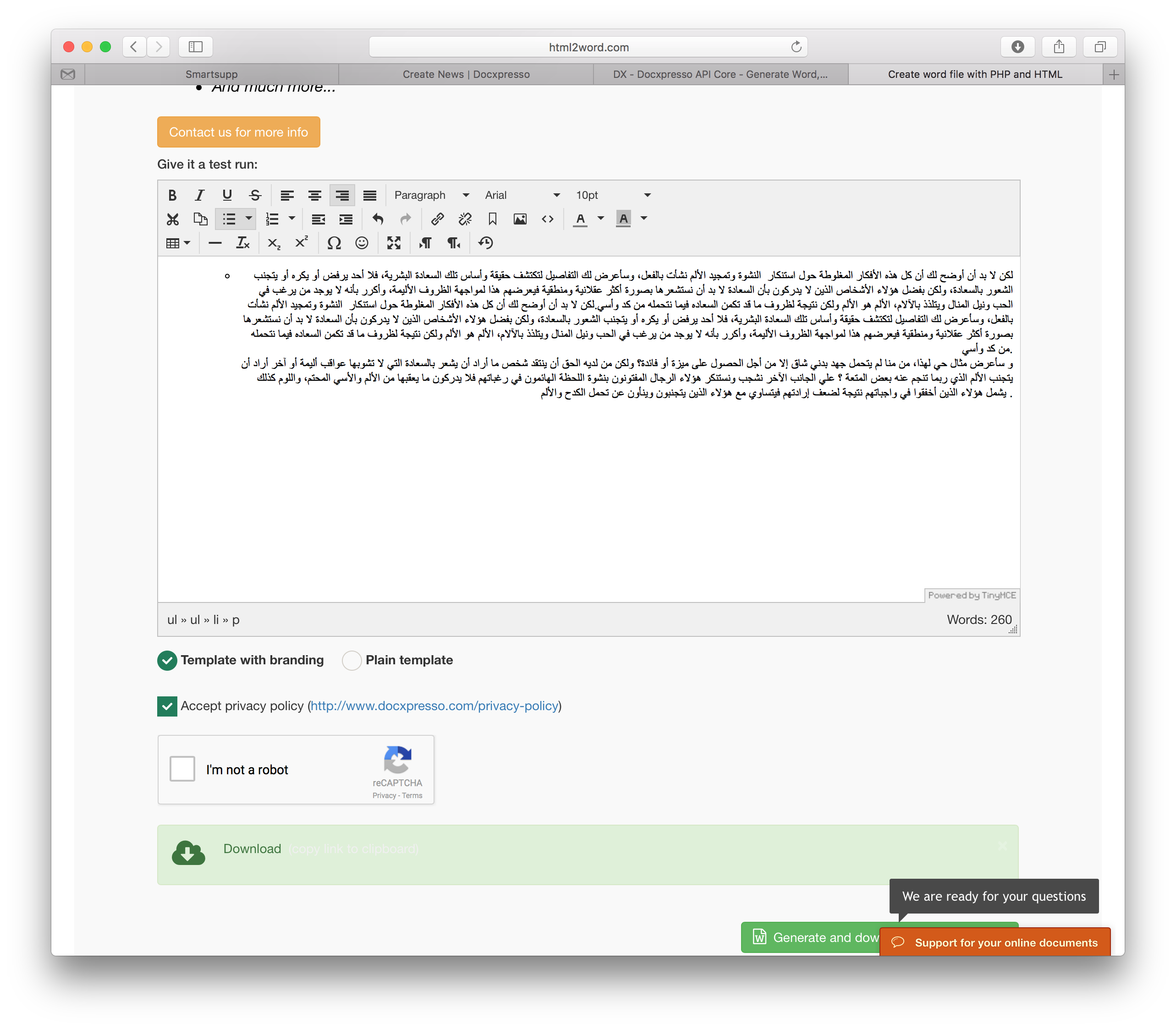 arabic text from html to pdf