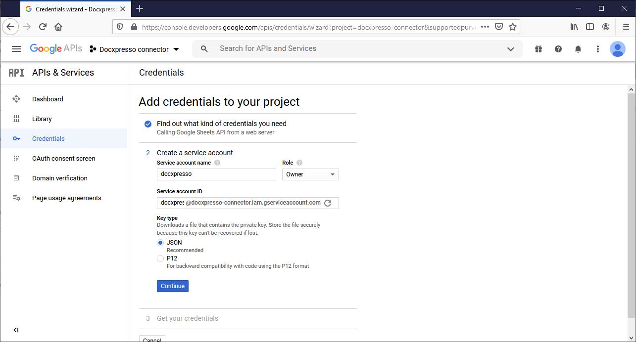 Add credentials II