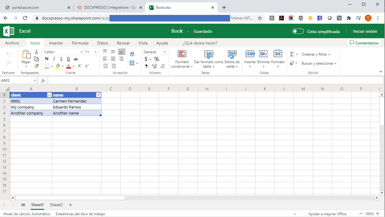 Cloud Excel file